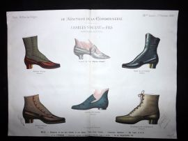 Le Moniteur de la Cordonnerie 1888 Rare Hand Colored Shoe Design Print 60